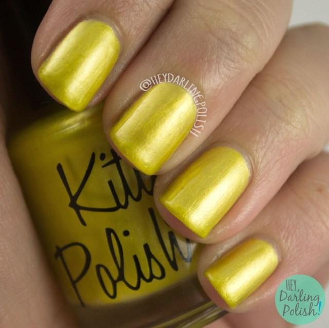 nails, nail polish, indie polish, indie, kitty polish, hey darling polish, yellow, #TBT,
