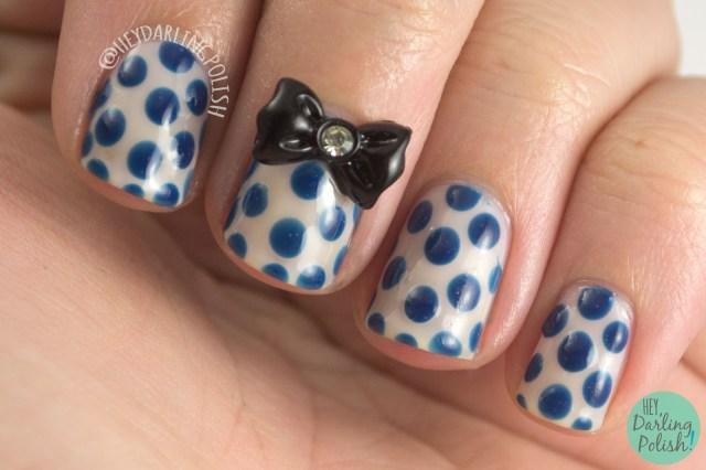 nails, nail art, nail polish, luxe lacquers, hey darling polish, cream, polka dots, blue, bow