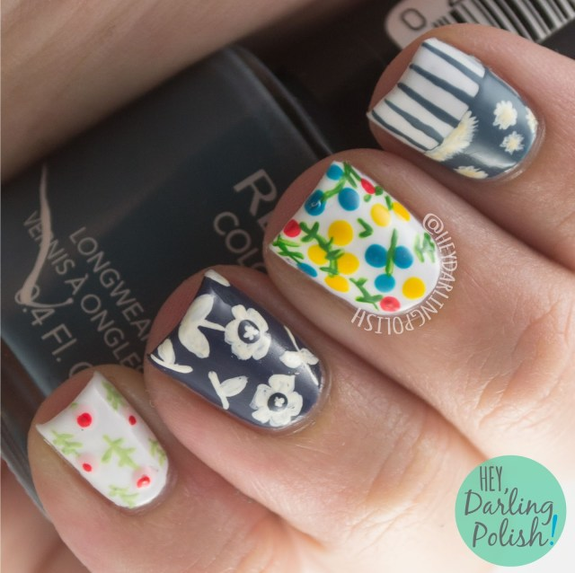 nails, nail art, nail polish, floral, flowers, hey darling polish, tea party, the nail challenge collaborative,