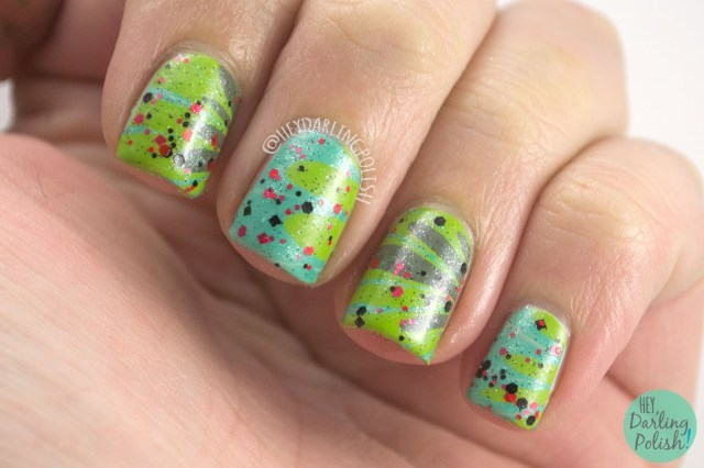 nails, nail art, nail polish, watermarble, glitter, indie, indie polish, zoya, hey darling polish, green, 31 day challenge, 31dc2014