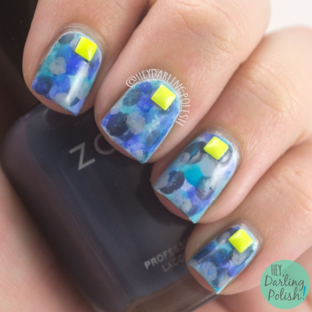 nails, nail art, nail polish, nimbus, blue, neon, studs, hey darling polish, 31 day challenge, 31dc2014