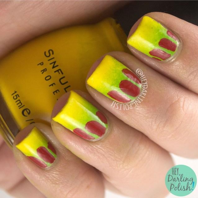 nails, nail art, nail polish, jurassic park, hey darling polish, gradient, green, yellow, 31 day challenge, 31dc2014
