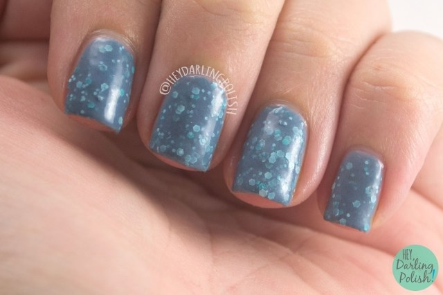 deep down under, blue, grey, glitter, nails, nail polish, indie polish, indie nail polish, live life polished, hey darling polish, farewell summer,