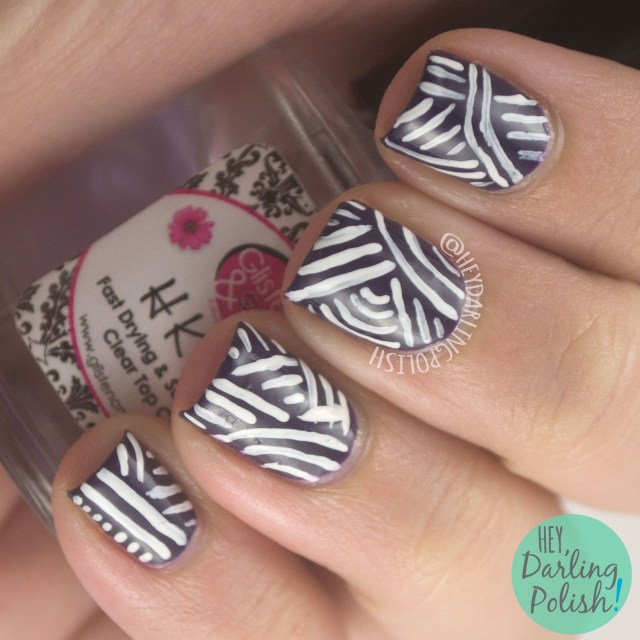 nails, nail art, nail polish, stripes, purple, lines, stripes, hey darling polish, 31 day challenge, 31dc2014,
