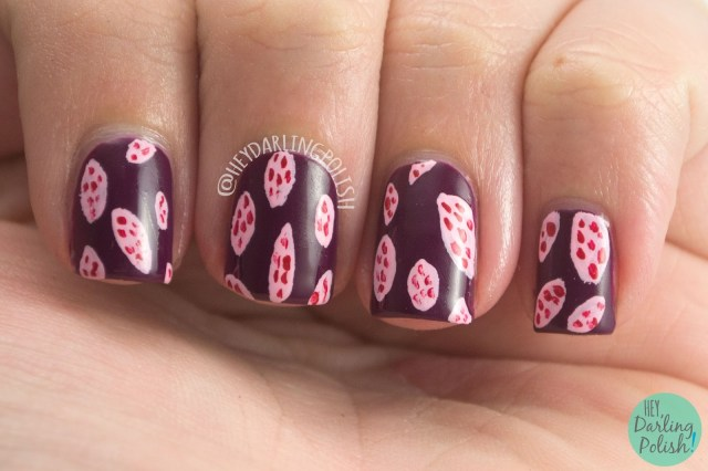 nails, nail art, nail polish, hey darling polish, black dahlia lacquer, indie polish, blood roses, wine berry, pattern