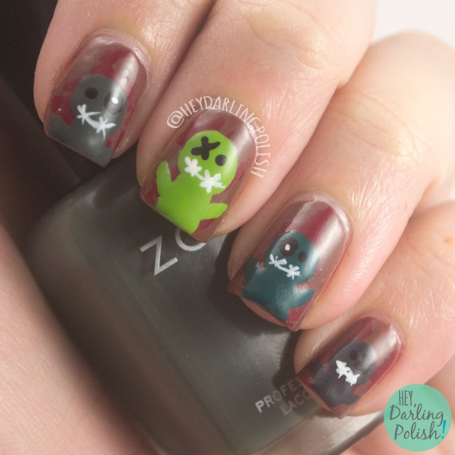 nails, nail art, nail polish, zombies, hey darling polish, the nail art guild, halloween, scary, halloween nail art