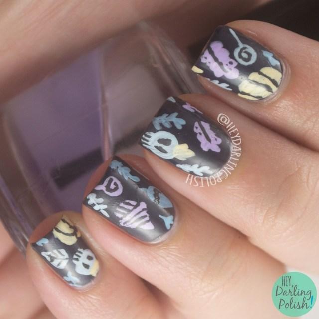 nails, nail art, nail polish, Halloween, pumpkins, Hey Darling Polish, hobby polish bloggers,