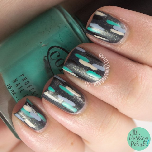 nails, nail art, nail polish, lines, zoya yuna, grey, hey darling polish, freehand