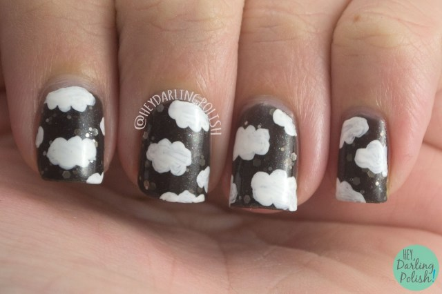nails, nail art, nail polish, lucky 13 lacquer, l13l, clouds, hey darling polish, naillinkup, pattern