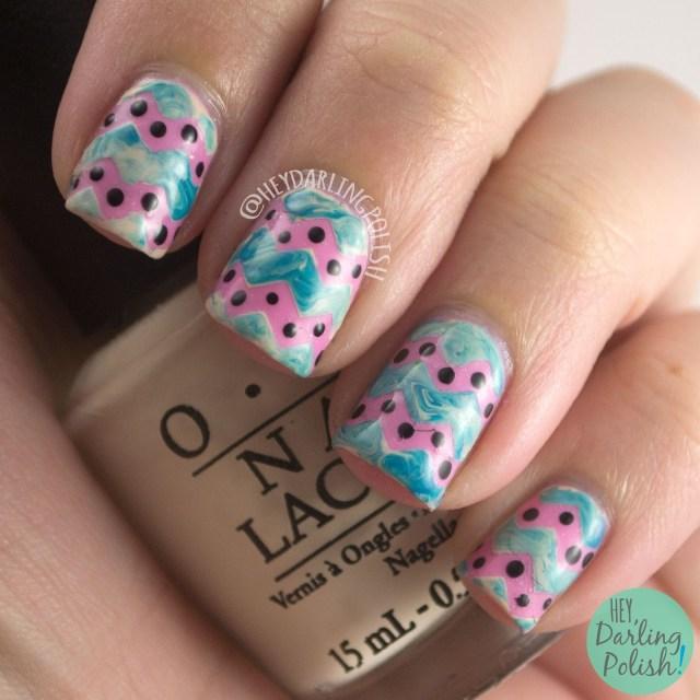 baby, pink, zig zags, polka dots, nails, nail art, nail polish, indie, indie polish, indie nail polish, nvr enuff polish, hey darling polish