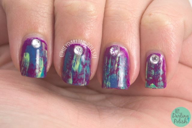 nails, nail art, nail polish, purple, distressed nail art, rhinestones, hey darling polish