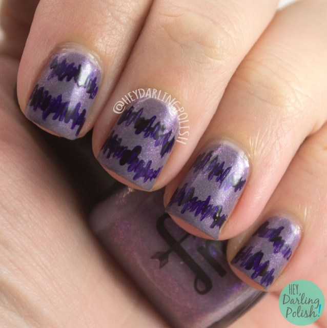 beauty within, purple, lines, pattern, nails, nail art, nail polish, indie polish, fair maiden polish, hey darling polish,