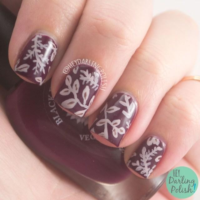 nails, nail polish, hey darling polish, fall favorites, hobby polish bloggers, nail art, indie polish, black dahlia lacquer, blood roses, leaves