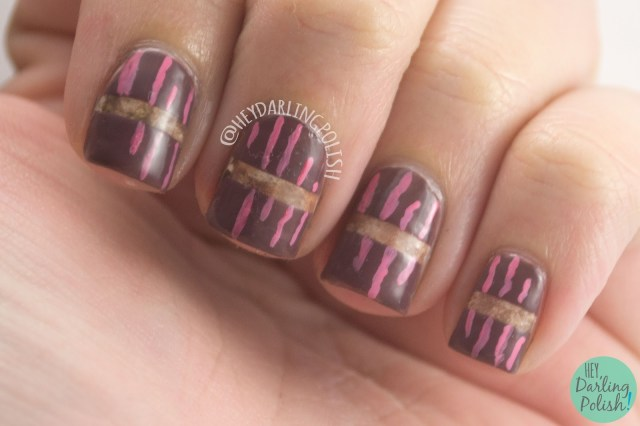 nails, nail art, nail polish, brown, pink, hey darling polish, 52 week challenge, watercolor, lines