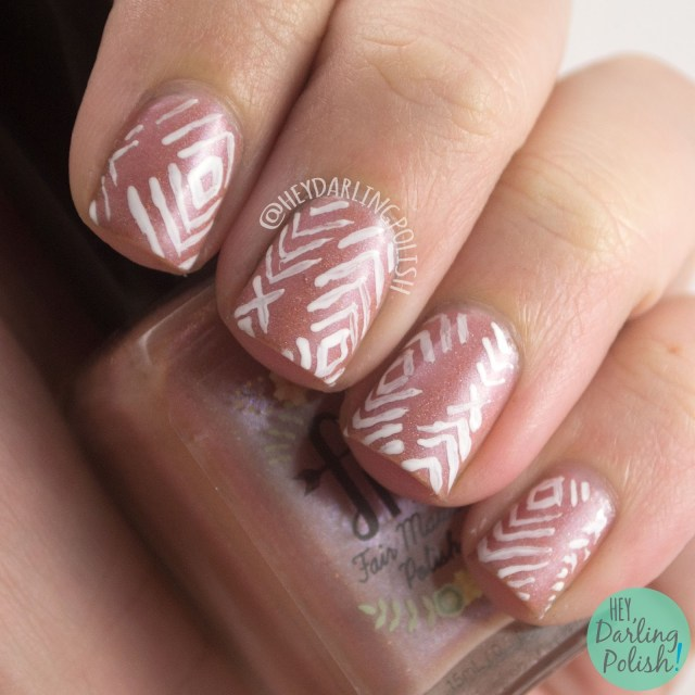 fairest of them all, nude, sparkle, pattern, nails, nail art, nail polish, indie polish, fair maiden polish, hey darling polish,