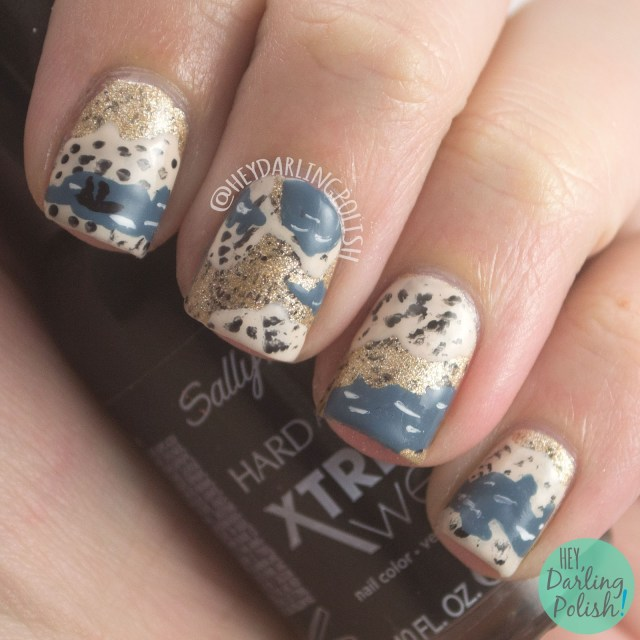 nails, nail art, nail polish, marshlands, hey darling polish, gold, tan, blue, the nail challenge collaborative, books,