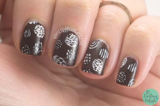 nails, nail art, nail polish, dots, brown, black, white, pattern, hey darling polish, the nail challenge collaborative,