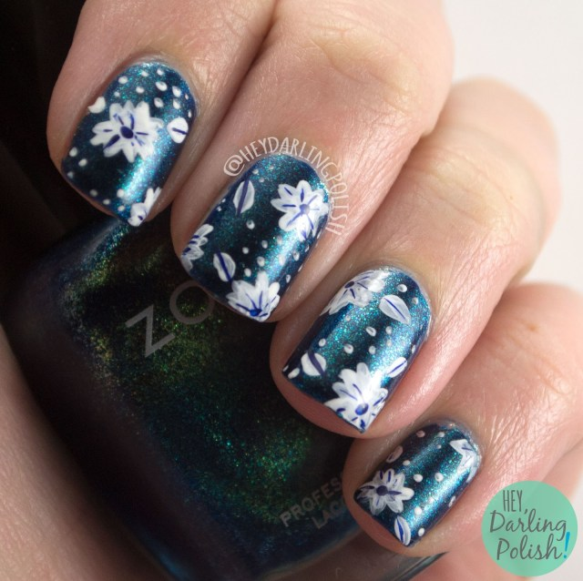 nails, nail art, nail polish, floral, flowers, blue, dark, white, hey darling polish, pattern, zoya