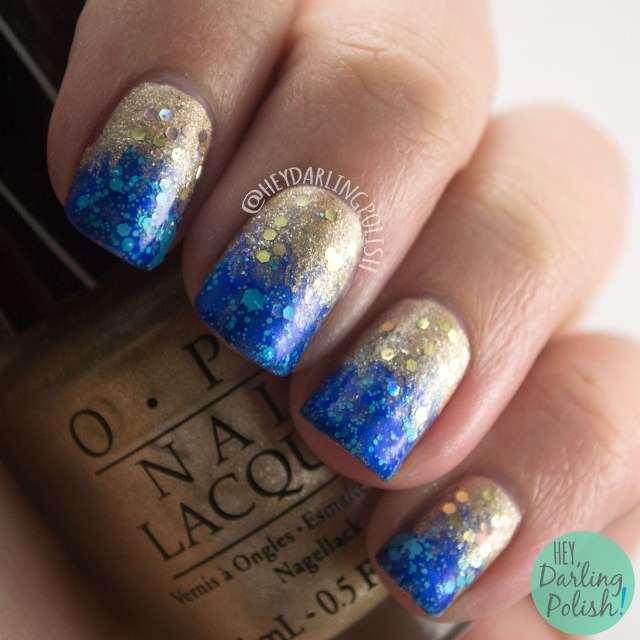 nails, nail art, nail polish, gold, blue, glitter, new years eve, hey darling polish, nail linkup