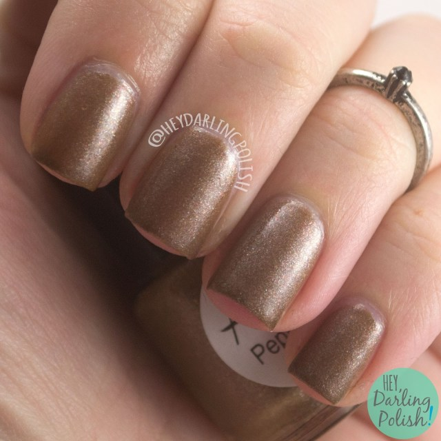 peppermint cocoa, brown, shimmer, nails, nail polish, indie nail polish, indie polish, lac attack, festivus collection, christmas, holiday, hey darling polish, swatch, review