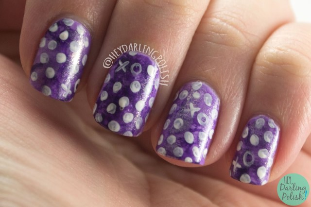nails, nail art, nail polish, hey darling polish, white, polka dots, watercolor, purple, 52 week challenge