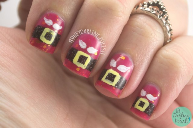 nails, nail art, nail polish, red, santa, lucky 13 lacquer, christmas, indie polish, hey darling polish