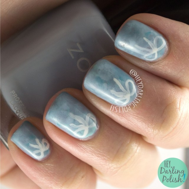 nails, nail art, nail polish, blue, bows, hey darling polish, watercolor, free hand, cute, pretty, 2015 cnt 31 day challenge