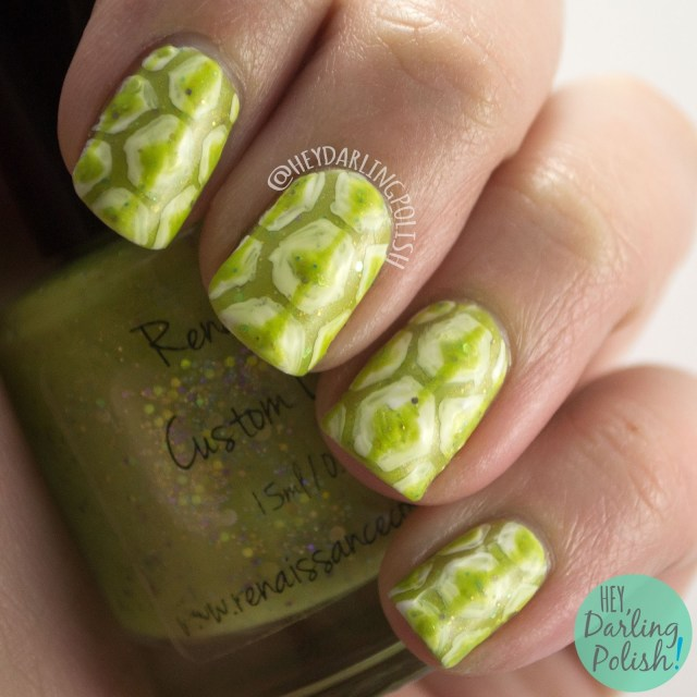 nails, nail art, nail polish, green, retro, the nail art guild, hey darling polish, renaissance cosmetics