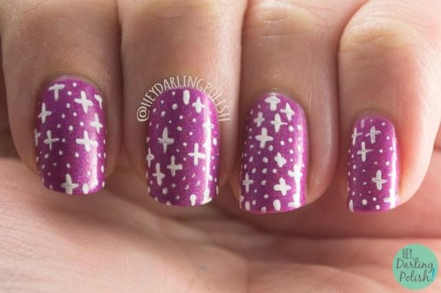 nails, nail art, nail polish, hey darling polish, ice polish, indie polish, valentines, do ya love me, pink, purple, holo, stars, pattern