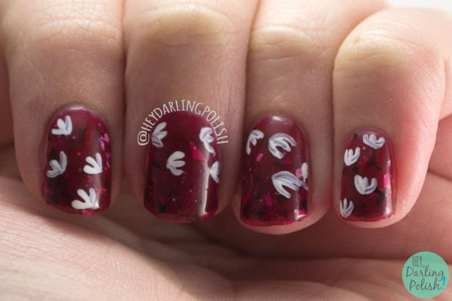 nails, nail art, nail polish, jurassic park, dinosaur, hey darling polish, lucky 13 lacquer, red, 2015 cnt 31 day challenge