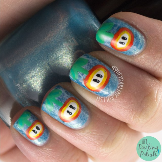 nails, nail art, nail polish, mario, fire, fire flowers, hey darling polish, 2015 cnt 31 day challenge, flowers,