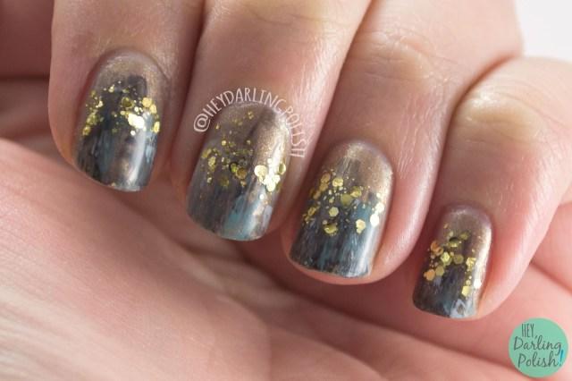 nails, nail art, nail polish, art, glitter, dry brush, hey darling polish, 2015 cnt 31 day challenge