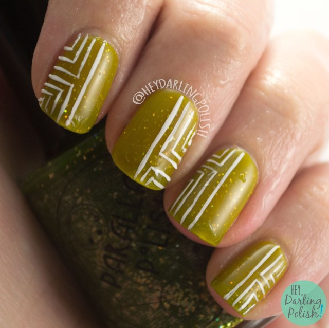 geocentricity, green, yellow, thermal, geometric, nails, nail art, nail polish, indie, indie polish, indie nail polish, hey darling polish, parallax polish,