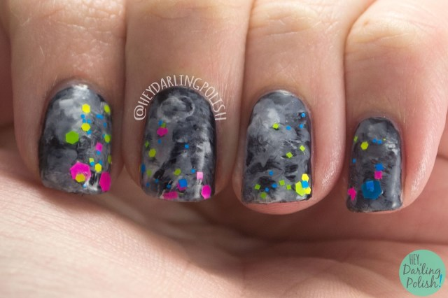 neon, glitter, watercolor, nails, nail art, nail polish, indie, indie polish, indie nail polish, hey darling polish, parallax polish,