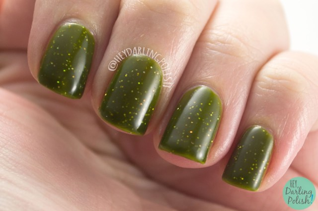 nails, nail polish, swatch, indie polish, indie, indie nail polish, parallax polish, hey darling polish, thermal, green, yellow, geocentricity, science,