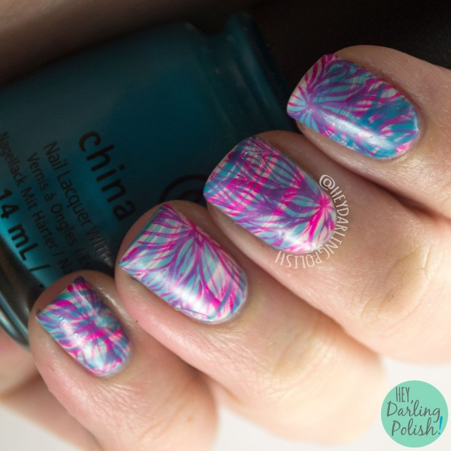 nails, nail art, nail polish, floral, watermarble, hey darling polish, 2015 cnt 31 day challenge, pink, blue