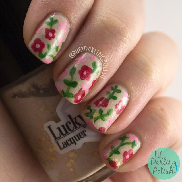 nails, nail art, nail polish, floral, flowers, golden snitch, hey darling polish, indie polish, 2015 cnt day challenge