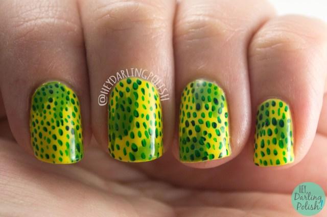 nails, nail art, nail polish, yellow, green, spots, hey darling polish, zoya, 2015 cnt 31 day challenge, pattern, freehand