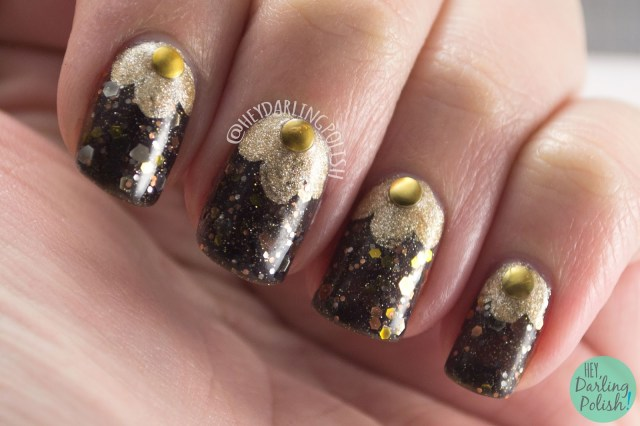 nails, nail art, nail polish, glitter, hey darling polish, kbshimmer, indie polish, band geek, studs, gold, black