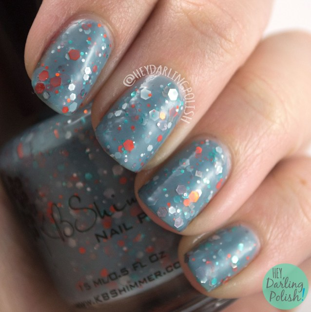 flannel surfing, blue, nails, nail art, nail polish, indie polish, kbshimmer, swatches, review, hey darling polish, glitter, glitter crelly