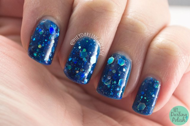 nails, nail art, nail polish, glitter, hey darling polish, kbshimmer, indie polish, blue, i got a crush on blue,