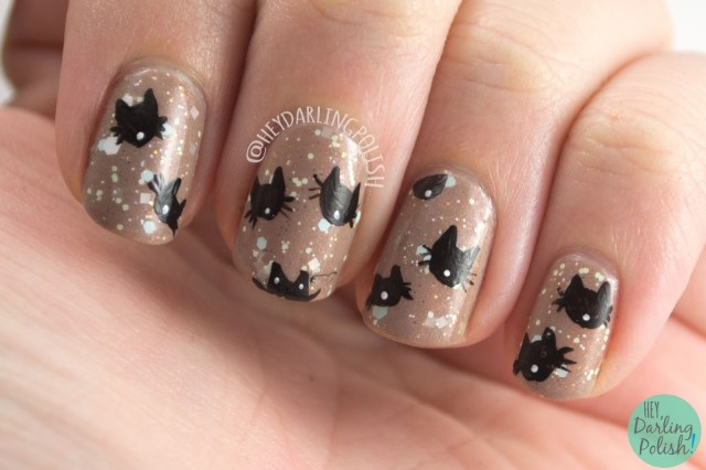 nails, nail art, nail polish, cats, kittens, hey darling polish, kitties, glitter, indie polish, the nail challenge colalborative