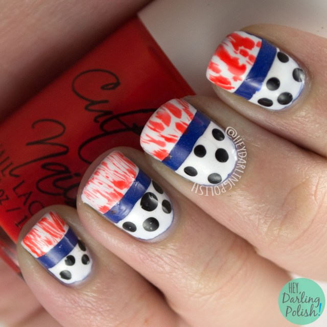 nails, nail art, nail polish, hey darling polish, fashion, polka dots, distressed, orange, white, blue, the nail challenge collaborative