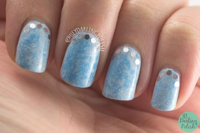 nails, nail art, nail polish, blue, saran wrap, glequins, hey darling polish, nail linkup, sparkles, cinderella