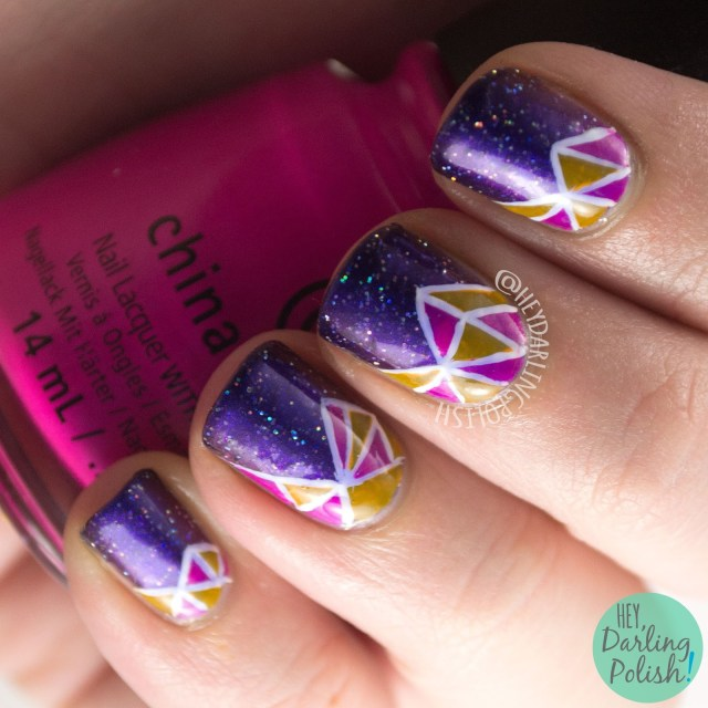 nails, nail art, nail polish, hey darling polish, indie polish, triangles, stained glass, fractals, glitter, 52 week challenge