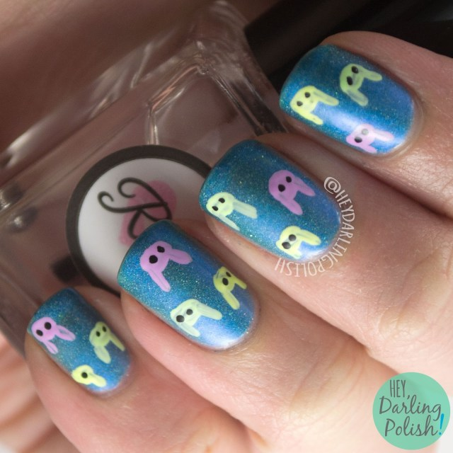 nails, nail art, nail polish, bunny, rabbits, holo, indie polish, hey darling polish, the nail challenge collaborative