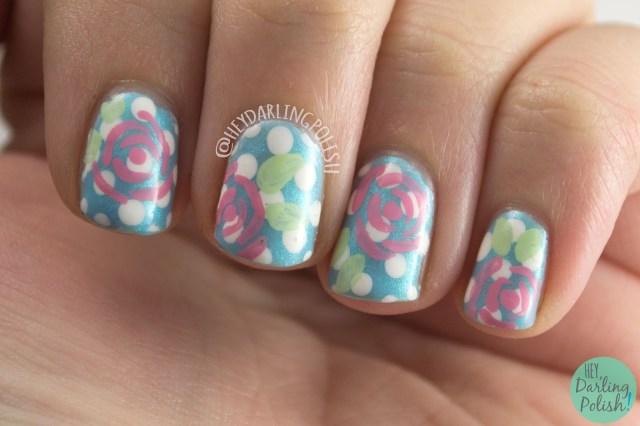 nails, nail art, nail polish, hey darling polish, roses, polka dots, blue, the nail challenge collaborative, freehand