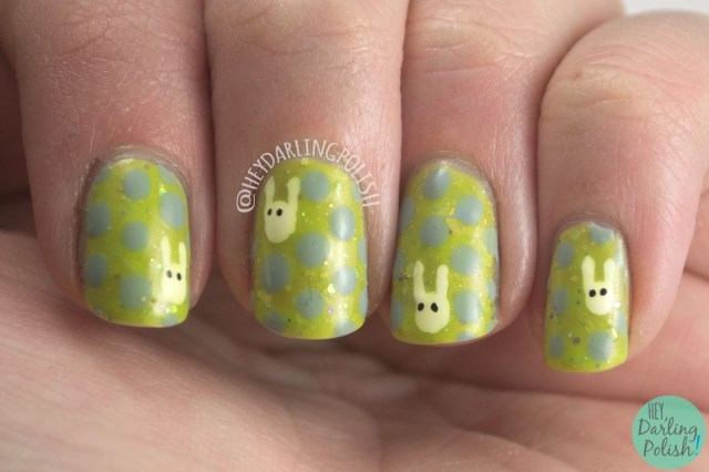 nails, nail art, nail polish, hey darling polish, easter, bunnies, nail linkup, polka dots, indie polish,