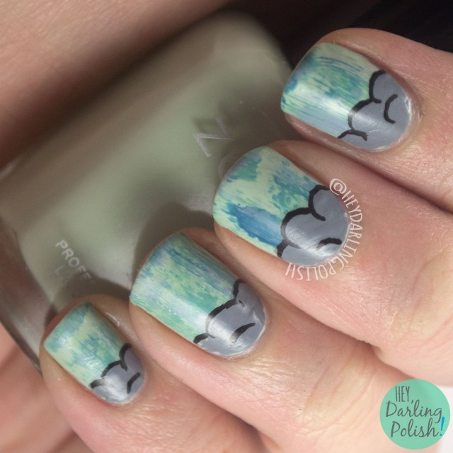 nails, nail art, nail polish, april showers, clouds, rain, zoya, hey darling polish, hobby polish bloggers