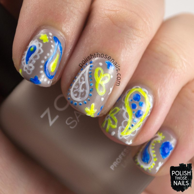 nails, nail art, nail polish, neutral, paisley, neon, 52 week challenge